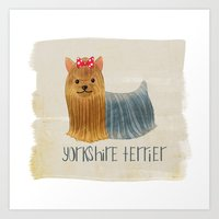 yorkie Art Prints featuring Yorkie by 52 Dogs