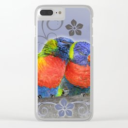 Two birds in love Clear iPhone Case