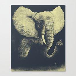 Elephant Drawing (Blue & Yellow) Canvas Print
