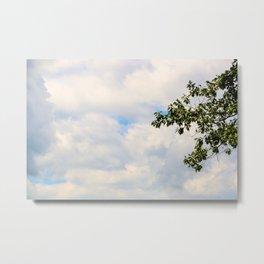 Gentle Tree Grazes Cloudy Sky Metal Print