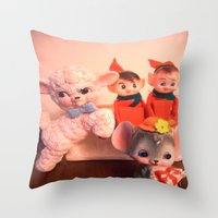 pixies Throw Pillows featuring Pixies gathers with lamb and mouse by Vintage  Cuteness