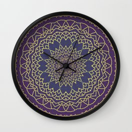 Mandala - purple and gold Wall Clock