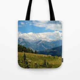 panorama cloudy alps serfaus fiss ladis tyrol austria europe Tote Bag
