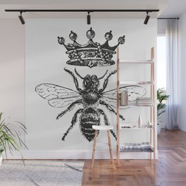 Queen Bee | Vintage Bee with Crown | Black and White | Wall Mural