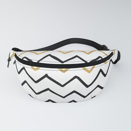 Writing Exercise- Simple Zig Zag Pattern - Black on White Gold - Mix & Match Fanny Pack