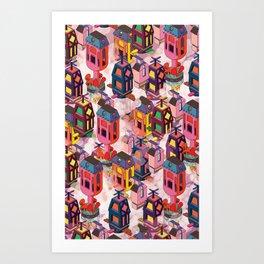 Flying houses Art Print