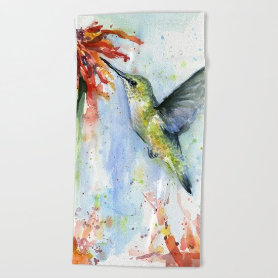 Hummingbird and Red Flower Watercolor Beach Towel