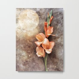 Orange Glads and the Moon Metal Print