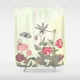 Butterfly and flowers -The Still Point Shower Curtain