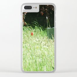 Red Flower by Grave Clear iPhone Case