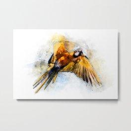Blue Macaw in flight watercolor Metal Print