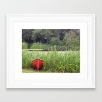 rowing Framed Art Prints featuring Red Rowing Boat - iPhoneography by Paranoidfloyd