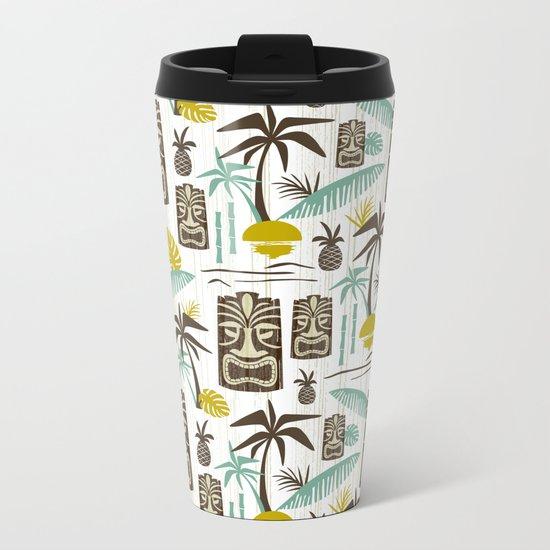 Island Tiki - White Metal Travel Mug