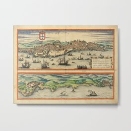 Vintage Map Print - 1572 View of the City of Lisbon, Portugal Metal Print