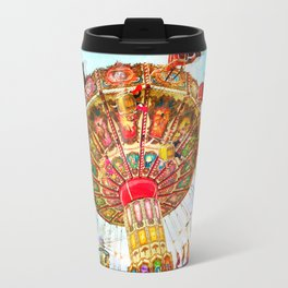Vintage retro, bright, colorful carnival swing ride Travel Mug