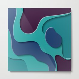 Paper Cut out Blue Waves 029 Metal Print