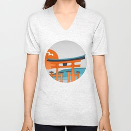 Japanese Shinto at Morning Unisex V-Neck