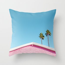Pink House Roofline with Palm Trees (Palm Springs) Throw Pillow