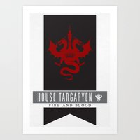 targaryen Art Prints featuring House Targaryen Sigil V2 by P3RF3KT