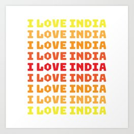 I love India - retro Art Print