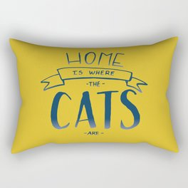 home is where the cats are - yellow and blue ombre Rectangular Pillow