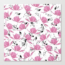 Pink black watercolor paint splatters floral Canvas Print
