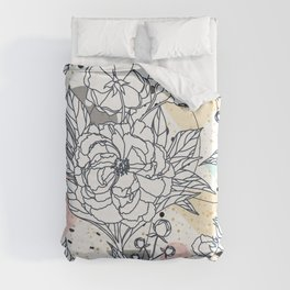 Modern geometric shapes and floral strokes design Duvet Cover