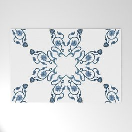Blue Floral Heart Tile Welcome Mat