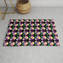 Rosa Yellow Roses on Black Pattern Rug