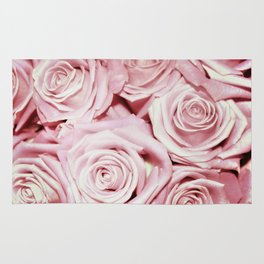 Beautiful bed of pink roses- Floral Rose Flowers Rug