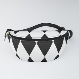 LARGE  WHITE AND BLACK   HARLEQUIN DIAMOND PATTERN Fanny Pack