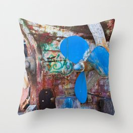 Old Port of Alcitrezza with a Wreck in Sicily Throw Pillow