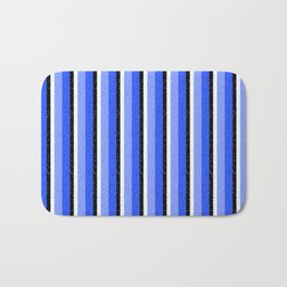 Speckled Blue Vertical Line Pattern Bath Mat