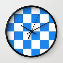 Large Checkered - White and Dodger Blue Wall Clock