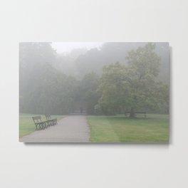 Gloomy autumn fog in park Metal Print