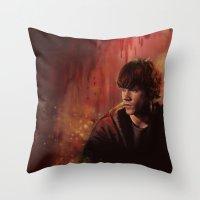 sam smith Throw Pillows featuring Sam by Amanda Shae