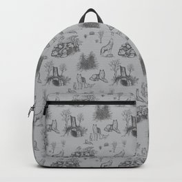 Eurasian Wolf Toile Pattern (Gray) Backpack