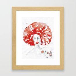 Mama Ru with a Huge Red Wig Framed Art Print