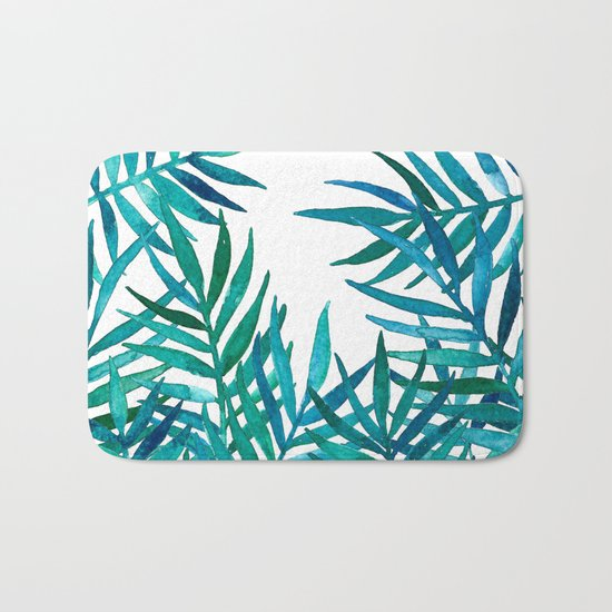 Watercolor Palm Leaves on White Bath Mat