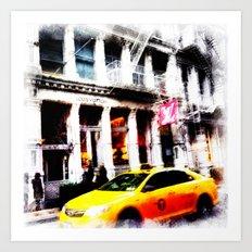 Yell0w cab in Soho Art Print