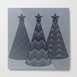Christmas trees 2  denim photocollage Metal Print