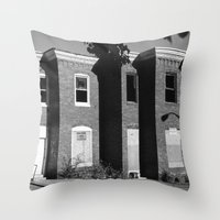 baltimore Throw Pillows featuring West Baltimore by Andrew Mangum
