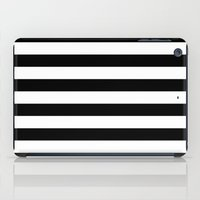 stripe iPad Cases featuring Stripe Black & White Horizontal by Beautiful Homes