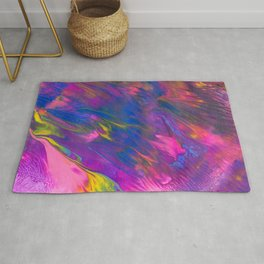 Lisa Frank Inspired Abstract Painting with Metallics - Pink, Purple, Yellow Rug