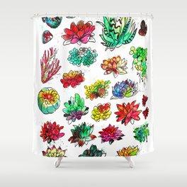 Watercolor Succulents Shower Curtain