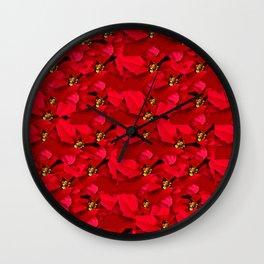 Poinsettia Christmas Wall Clock