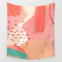 Peachy Pink Abstraction Wall Tapestry