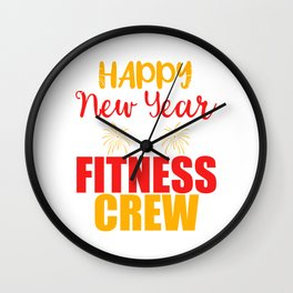 Happy New Year Fitness Crew 2020 January 1st Fireworks Merry Christmas Xmas T-shirt Design Wall Clock