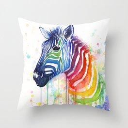 Zebra Watercolor Rainbow Animal Painting Ode to Fruit Stripes Throw Pillow