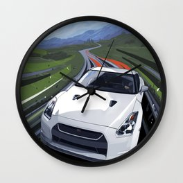Skyline GT-R Illustration Art Print Wall Clock